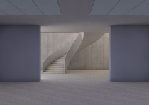 Basement view of stair down to gallery and lecture theatres