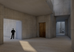 Basement interior perspective showing light entering from above through double volume spaces.