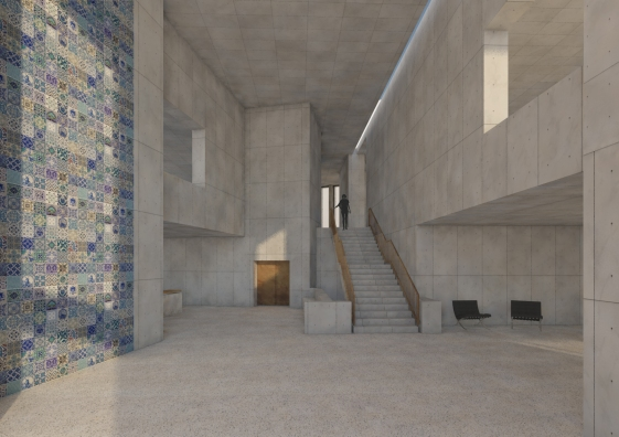 Entrance foyer perspective showing staircase to studios